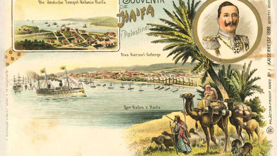This pastoral postcard from Haifa is from 1898. Image courtesy of Hebrew University of Jerusalem