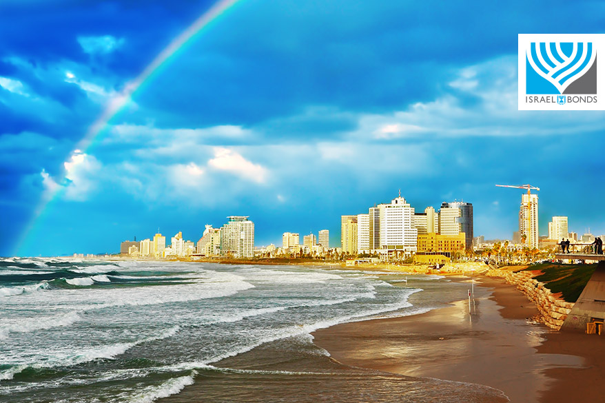 Rainbow over Tel Aviv beach, Israel